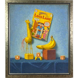 """1980s """"Ode to Boy"""" Still Life Oil Painting by Warren Prindle, Framed For Sale"""