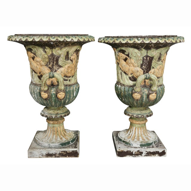 Pair of European Carved and Painted Wood Campagna Form Urns For Sale - Image 11 of 13