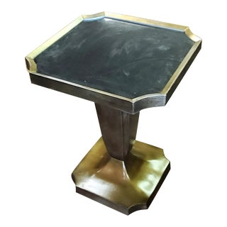 Thomasville Furniture Spellbound Black Granite Top Metallic Lamp Table For Sale