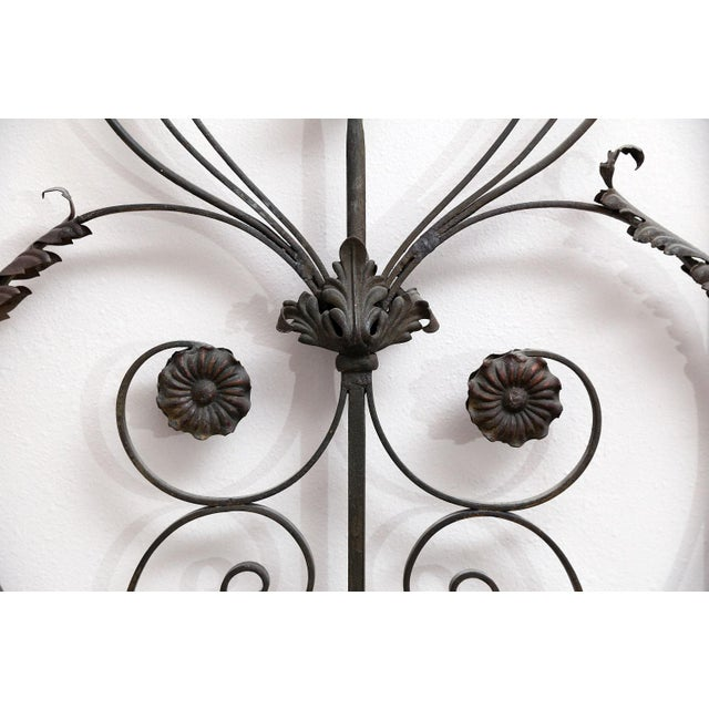 Metal Pair of 19th Century French Forged Iron Gates, later adapted as a Headboard For Sale - Image 7 of 7