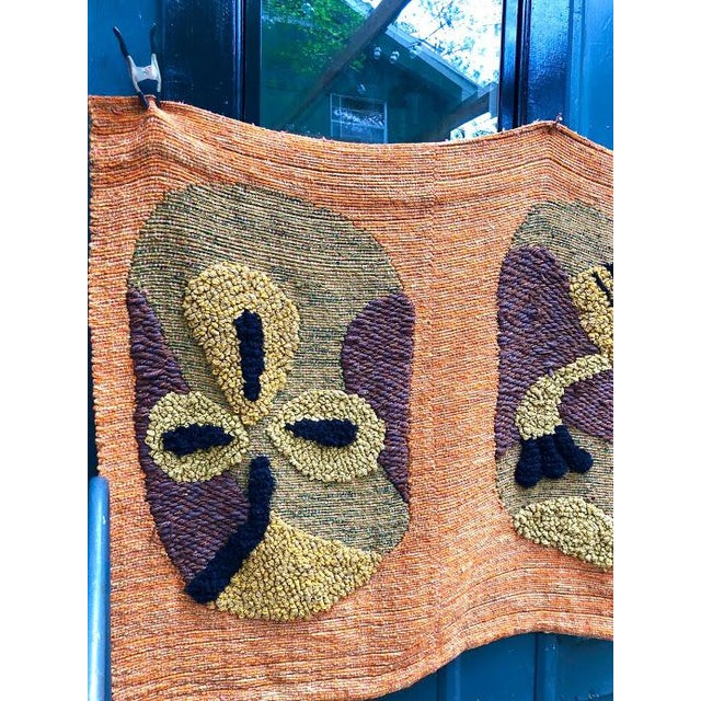 Orange 1950s Giant Hand-Loomed Polynesian Abstract Tapestry For Sale - Image 8 of 9