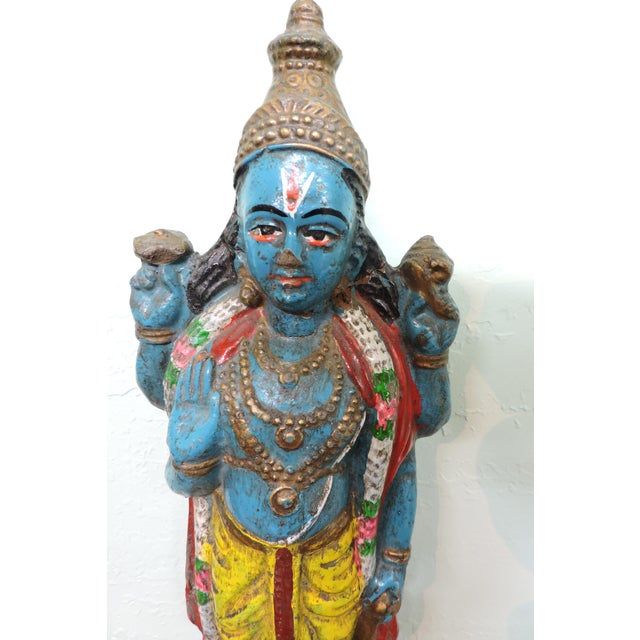 Anonymous Polychromatic Krishna Figure For Sale - Image 4 of 5