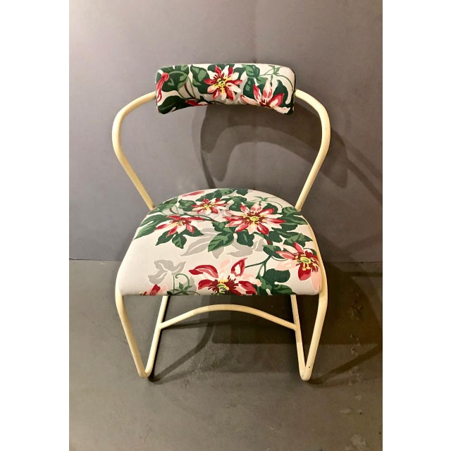 Minimalism Pair 1940's Painted Steel and Bark Cloth Side Chairs For Sale - Image 3 of 7