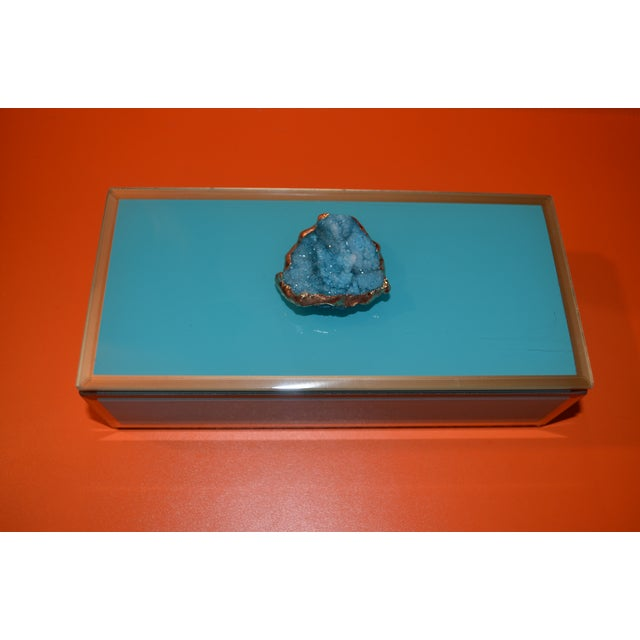 Boho Chic Turquoise Geode Glass Trinket Box For Sale - Image 3 of 8