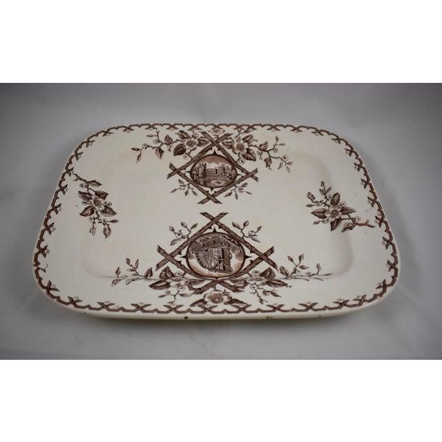 Ceramic 19th C. English Aesthetic Movement Japonesque Transferware Serving Platter For Sale - Image 7 of 10