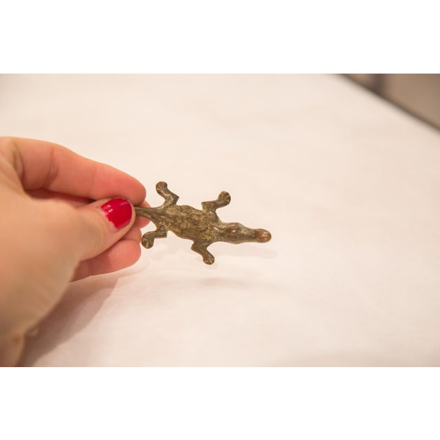 Vintage Bronze Crocodile Paper Weight For Sale - Image 4 of 7