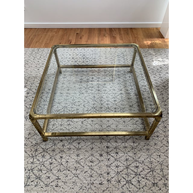 1970s Hollywood Regency Mastercraft Brass and Glass Square Cocktail Table For Sale - Image 9 of 13