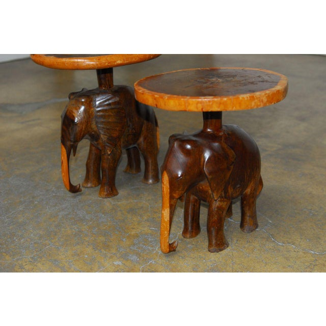 Early 20th Century Carved Elephant Drink Tables - a Pair For Sale - Image 5 of 7