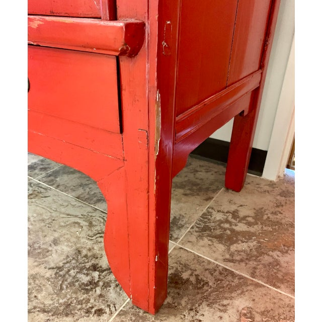 Chinese Red Lacquered Armoire Cabinet For Sale - Image 9 of 11