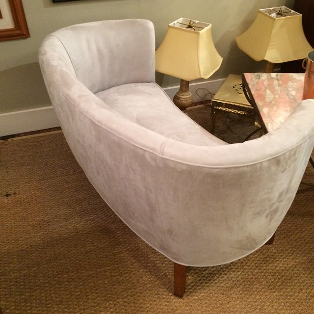 1940s Curved Grey Suede Loveseat - Image 4 of 5