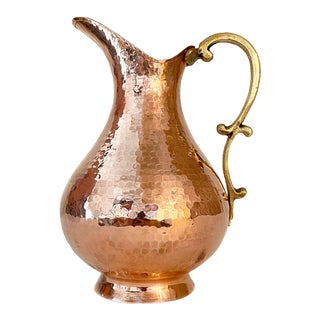 Hand-Hammered Copper Pitcher For Sale