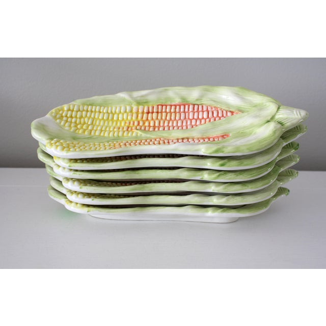 American Vintage Italy Majolica Corn on the Cob Dishes - Set of 6 For Sale - Image 3 of 13
