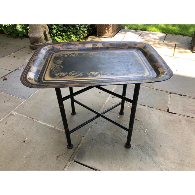 Early American 19th Century Early American Stenciled Tole Tray Table For Sale - Image 3 of 11