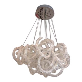 Glass Twisted Rope Chandelier For Sale