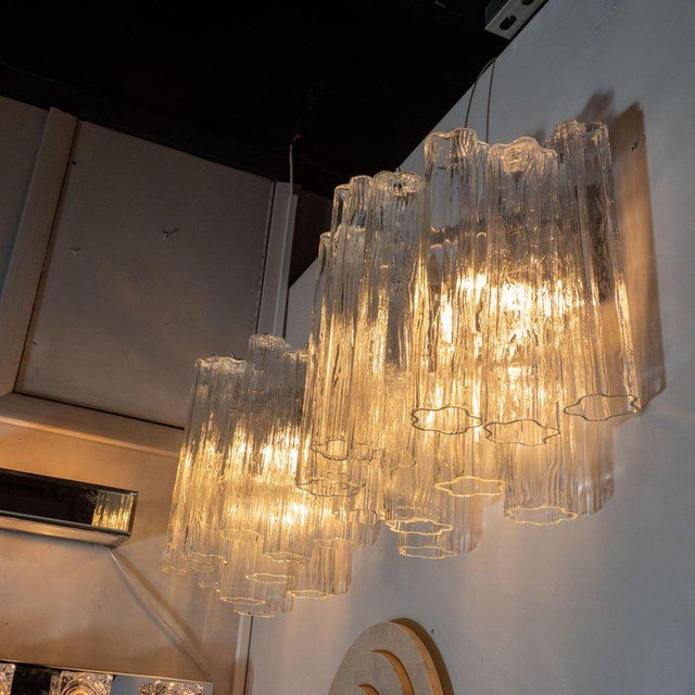 1970s Mid-Century Staggered Translucent Glass Tronchi Sconces With Nickel Fittings - a Pair For Sale - Image 5 of 6