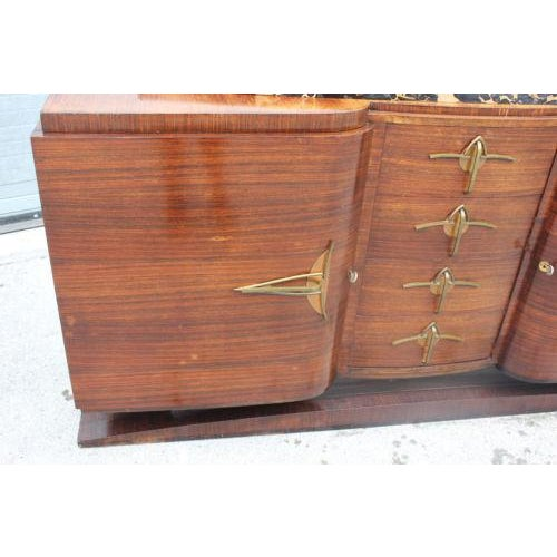 Classic French Art Deco Palisander Sideboard / Buffet Marble Top Circa 1940s - Image 5 of 10