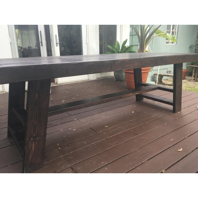 Dark Thick Wood Outdoor Dining Table Custom Made in Miami For Sale - Image 4 of 5