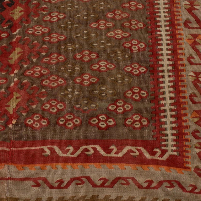 1940s Vintage Kayseri Red and Brown Wool Kilim Rug For Sale - Image 5 of 9