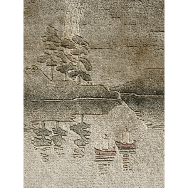 Vintage Chinese Wool Wall Hanging Rug Tapestry 'Temple W Lake and Boats' For Sale - Image 10 of 13