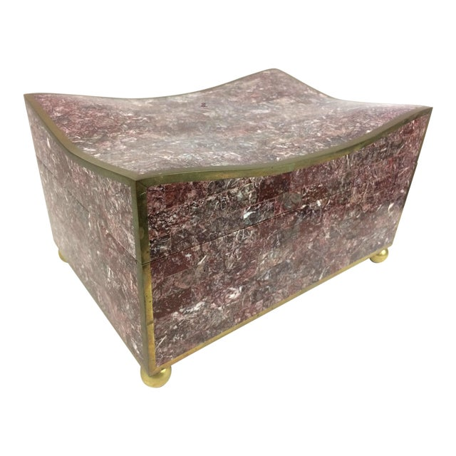 Maitland-Smith Tesselated Marble & Brass Box - Image 1 of 11