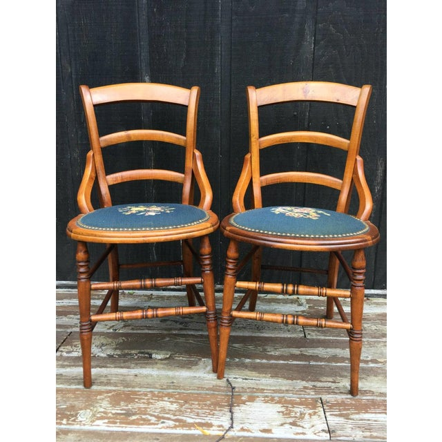 Country Needlepoint Seat Wooden Chairs - Set of 2 For Sale - Image 3 of 11