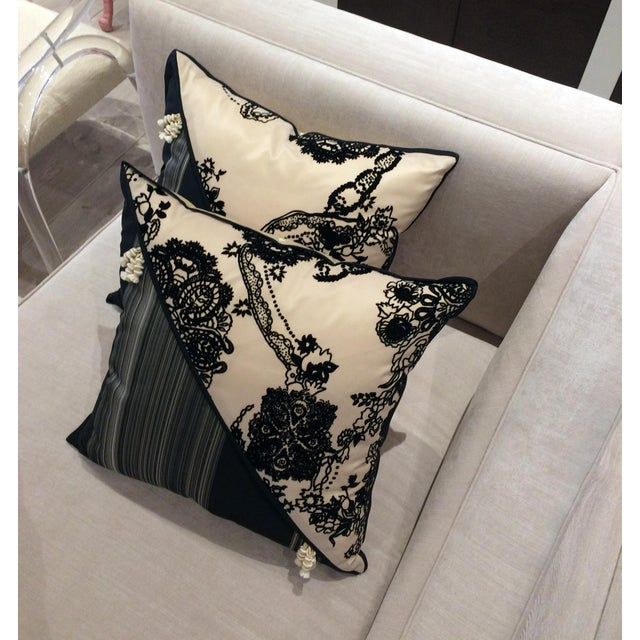 DWM   MALOOS Contemporary Dia Noire Flocked Pillows - a Pair For Sale - Image 9 of 13