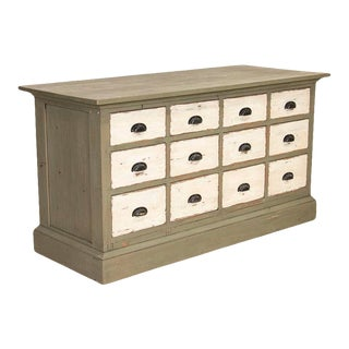 Antique Painted Pine Shop Counter Farmhouse Sideboard, Kitchen Island For Sale