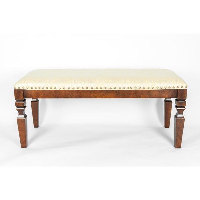 Mahogany Wood Framed Bench For Sale - Image 13 of 13