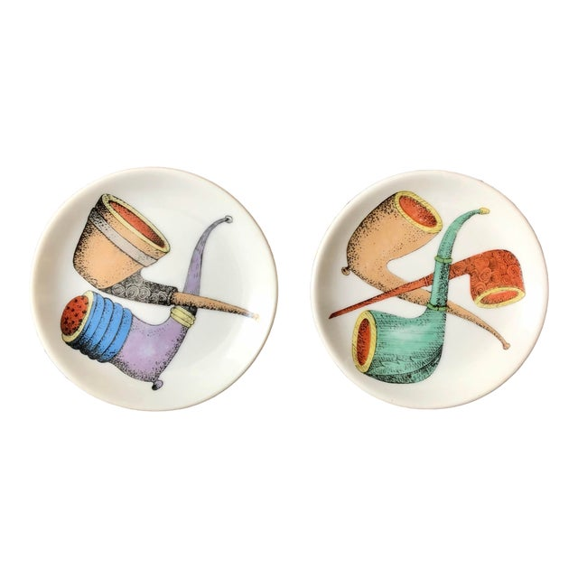 Piero Fornasetti Style Pipe Coasters- a Pair For Sale