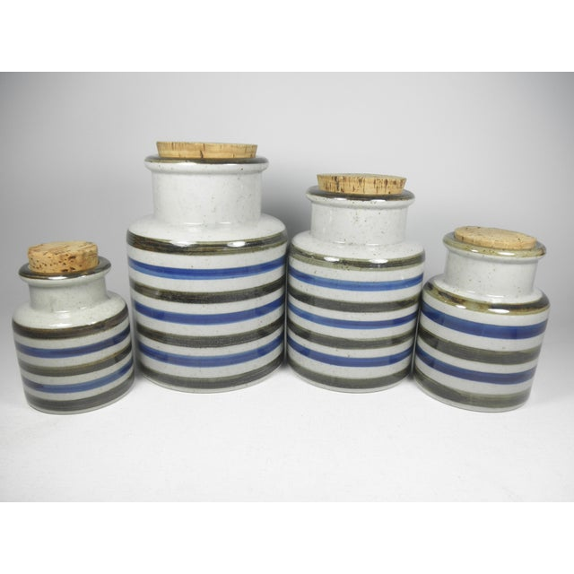Vintage Japanese Striped Canisters - Set of 4 - Image 2 of 4