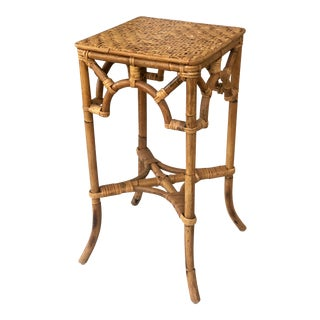 Vintage Chinoiserie Bamboo Rattan Side Table For Sale