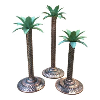 Palm Tree Candlestick Holders - Set of 3 For Sale