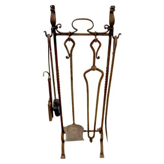 6-Piece Gothic Revival Fireplace Tool Set After Yellin For Sale