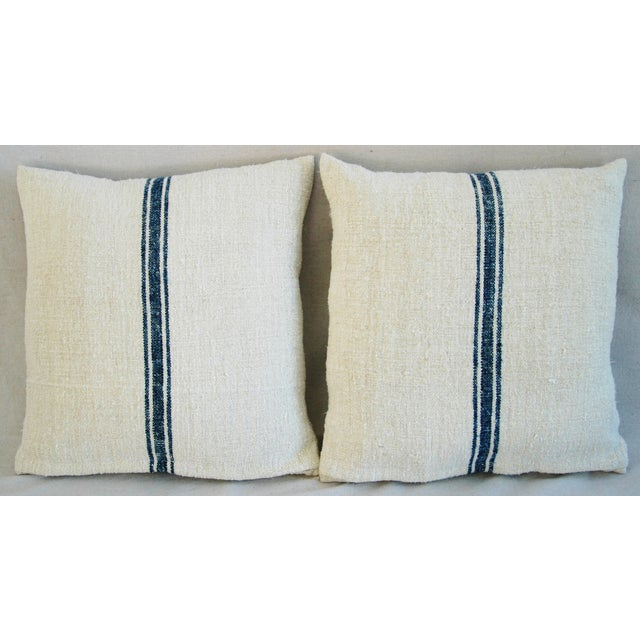 French Grain Sack Pillows - A Pair - Image 3 of 10