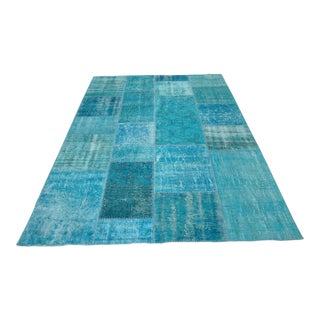 Turquise Handwoven Bohemian Wool Patchwork Rug - 5′7″ × 8′1″ For Sale