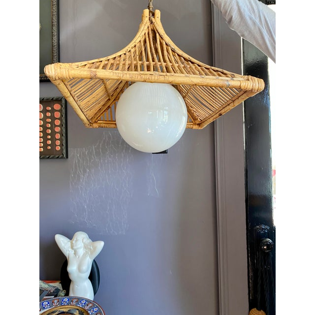 1960s 1960s Vintage Bamboo & Milk Glass Pagoda Chandelier For Sale - Image 5 of 7