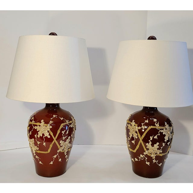 1960s Moriage Bamboo Lamps With Linen Shades- a Pair For Sale - Image 13 of 13