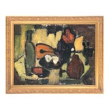 Image of Vintage Mid Century Cubist Abstract Still Life Oil Painting by Tomi Block C.1950s For Sale