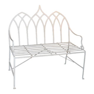 Contemporary Gothic Style Iron Indoor Outdoor Settee For Sale