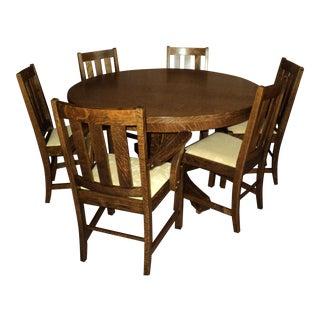 Antique Mission Oak, Arts & Crafts Dining Furniture-Set of 6 For Sale