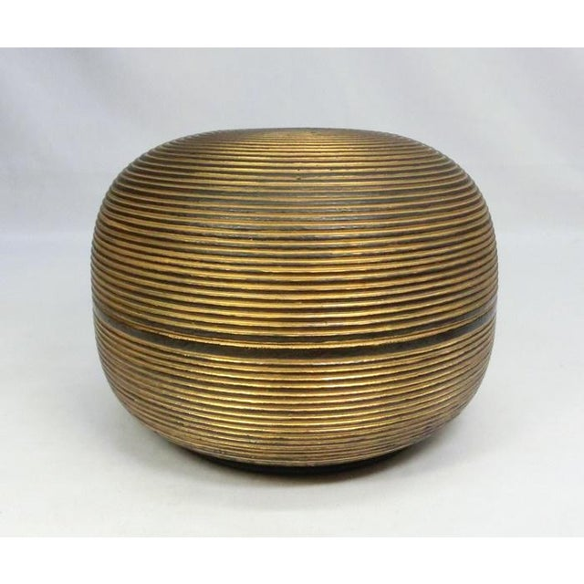 Japanese Ceramic Gilded Gold Black Lidded Container Dome Shape Art Deco Style Box Asian For Sale - Image 12 of 12