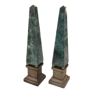 Vintage Green Marble and Brass Obelisks - a Pair For Sale