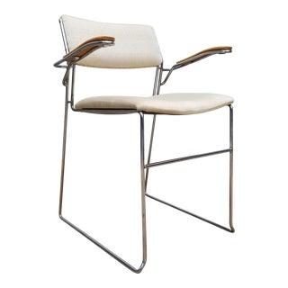 Vintage Mid- Century Modern Chrome Arm Accent / Desk Chair For Sale