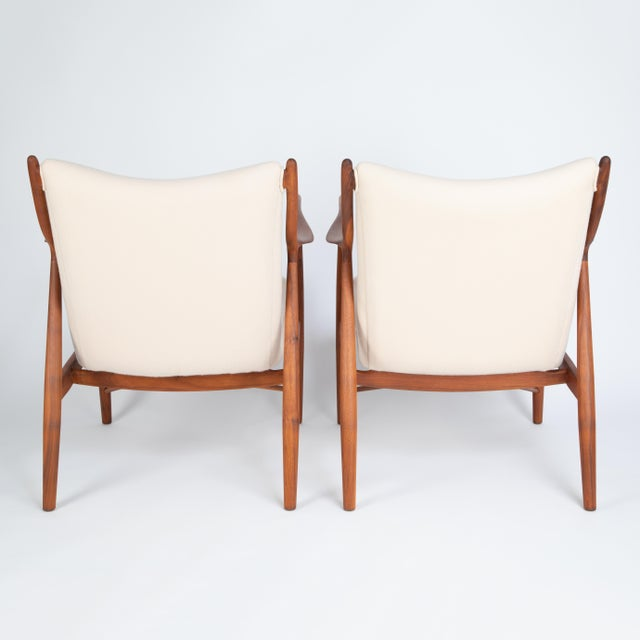 """Wood Pair of Finn Juhl """"45"""" Chairs for Baker Furniture, Circa 1960s For Sale - Image 7 of 13"""