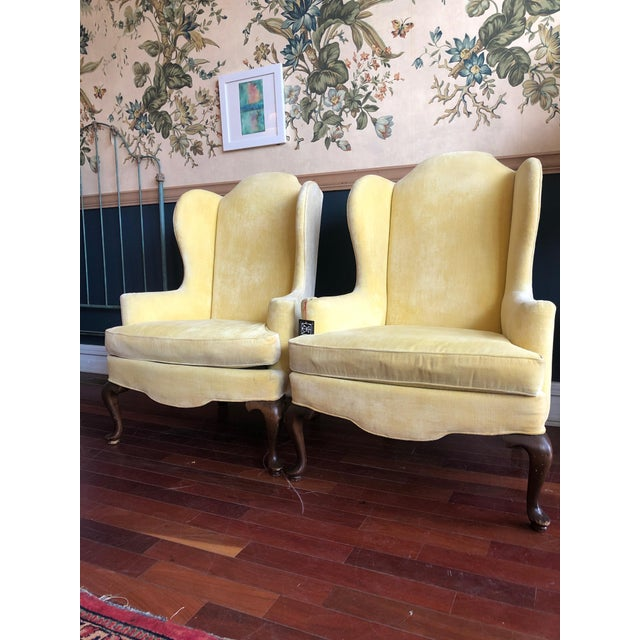 Vintage Drexel Yellow Wingback Chairs- Pair For Sale - Image 10 of 13