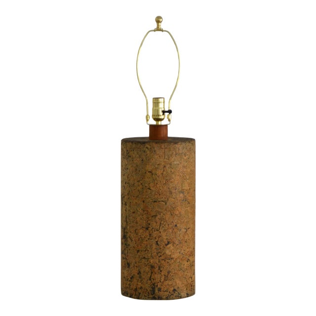 Mid-Century Cylindrical Form Cork Table Lamp For Sale