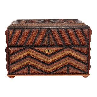19th Century Swedish Tramp Art Jewelry Box For Sale