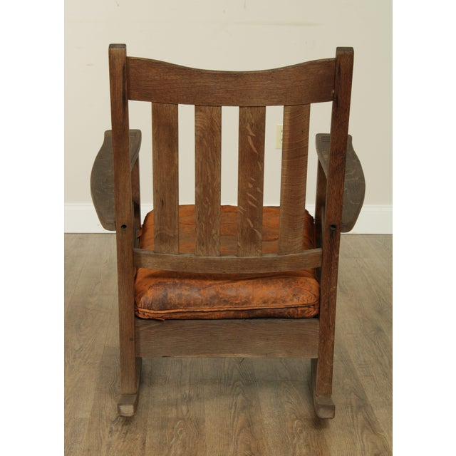 1910s Antique Mission Oak Wcathered Rocker For Sale - Image 5 of 13