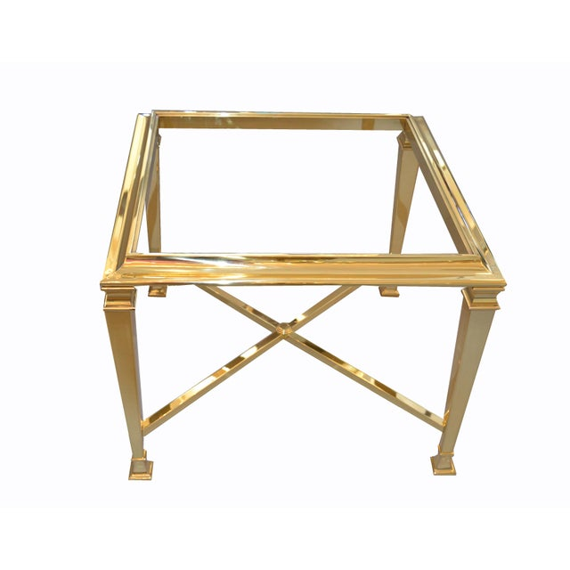 Hollywood Regency French Maison Jansen Brass Tables With Glass Tops, Pair For Sale - Image 11 of 12