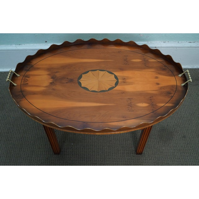 English Yew Wood Inlaid Tray Top Coffee Table - Image 6 of 10